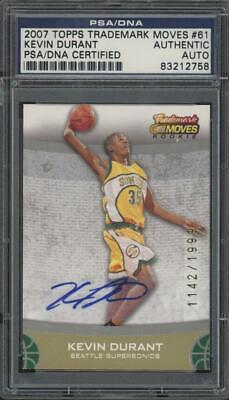 2007 Topps Treademark Moves Kevin Durant 1142/1999 RC Rookie Mint PSA/DNA Auto