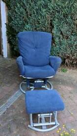 Wingback rocking chair with rocking footstool
