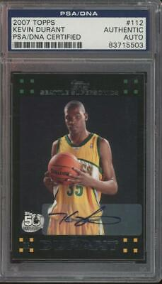 2007 Topps #112 Kevin Durant RC Rookie Mint PSA/DNA Auto
