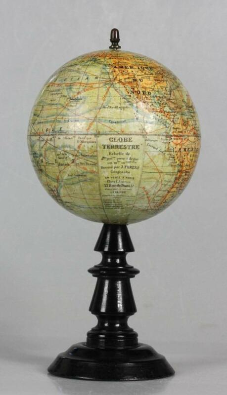 """SMALL 9.5 """" Antique French Terrestrial Globe Wooden Stand by J. Forest of Paris"""