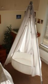 Leander Hanging Cradle with TRIPOD Cot incl Mattress, Hook and sky veil/canopy