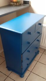 SOLID PINE SIX DRAW CHEST PAINTED with COBALT SATIN CHALK PAINT