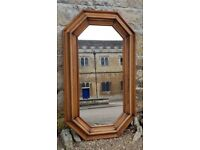 Vintage Wall Mirror, Octagonal, Wooden Moulded Frame, Refurbished
