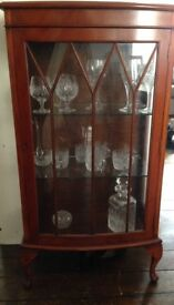 French vintage wood & glass display cabinet
