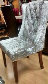 Stunning Silver Crushed Velvet Knocker back Dining Chairs