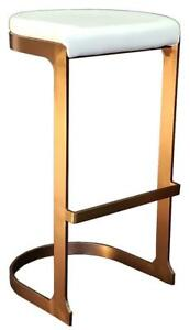 4 - Rose Gold Finish Backless Barstool with White Seat on SALE