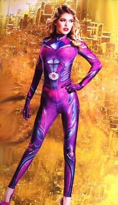 Womens Sexy PINK Power Ranger  Bodysuit Halloween Purim Costume S M L 4 6 14 NEW