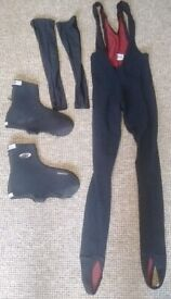 Winter cycling bib leggings, overboots, arm warmers