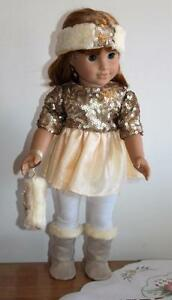 "OOAK Fashionista Outfit for 18"" American Girl or Other Sequins, Tulle and Plush"
