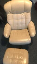 Tan leather single recliner & footstool : superb condition!