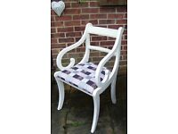 Stunning Regency Dining/Living/Bedroom Chair Painted in Antique White/Cream/Flint