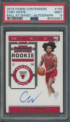 2019 Panini Contenders Ball At Waist #140 Coby White Auto RC Rookie Mint PSA 9