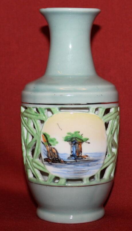 Vintage Hand Made Korea Glazed Hand Painted Ceramic Vase
