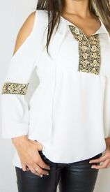 White Cold Shoulder Top with Gold Embroidery (Size 8).
