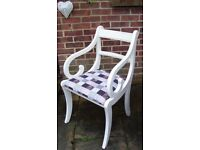 Lovely Regency Dining/Living Room Chair Painted in Antique White/Grey or Cream & reupholstered