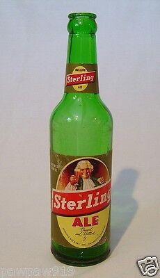 STERLING ALE GREEN GLASS BEER BOTTLE PAPER LABELS EMPTY VINTAGE ORIGINAL