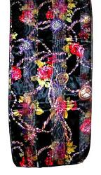 SCARF Black Background W/ Gold Olive Red Purple White Floral FLOWERS & CLOCKS
