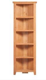Canterbury mini Tall Corner Oak Corner bookcase