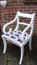 Stunning Regency Dining/Living/Bedroom Carver Chair Painted in any colour & reupholstered