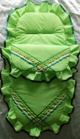 New Handmade Babys Cosytoes 3in1 Footmuff Pram set Blanket