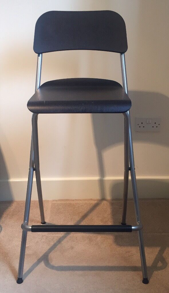 Ikea Franklin Bar Stool Foldable Brown Black In Eccles