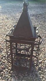 Vintage antique Edwardian lantern 4 curved sides & castellated detail at top Copper Brass Metal
