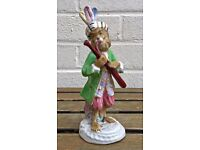 BASSOON PLAYER- C19th MEISSEN MONKEY BAND/ORCHESTRA STYLE CROSS SWORDS FIGURE MODEL