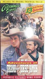 COLLECTION OF CLASSIC 1940s/1950s CLIFFHANGERS ON VHS TAPES.ZORRO, JAMES BROTHERS, FRAN/ JESSE JAMES