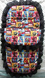 New Handmade Babys Cosytoes 3in1 Footmuff Pram set Blanket Super Heroes