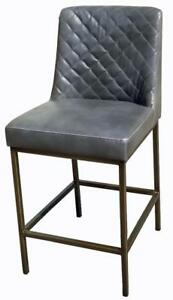 Grey Leather Counter Stool with Bronze Steel Frame on SALE