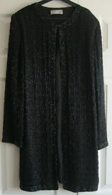 Long Black Sparkly Jacket/Coat by Wallis, size 10.