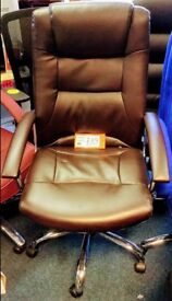 SOLD New Brown Leather Office Swivel Chair for Home or Business Use Fully Assembled
