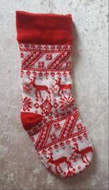 Fairisle Traditional Knitted Red White Diamante Pearl Xmas Christmas Stocking