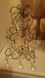 Metal, Wire and Crystal Chandelier Light Shade – excellent condition