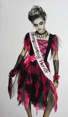 Girls HOMECOMING QUEEN Prom Zombie Dress Crown Scary Dead Walking L XL 14 16 NEW