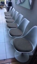 WHITE DESIGNER SWIVEL CHAIRS - TULIP - EERO SAARINEN STYLE