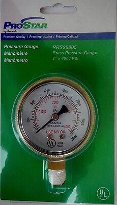 Praxair Prostar Prs20005 Welding Brass Pressure Gauge 2 X 4000 Psi