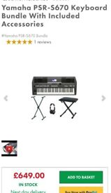 *YAMAHA PSR S670 BUNDLE INCLUDED NEW WITH ACCESSORIES