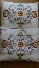 2 x embroidered cushions £15