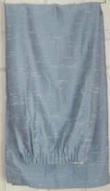 """Pair CURTAINS, fully lined, Blue slight pattern in fabric, 62"""" wide x 52"""" drop/length, taped top, gc"""