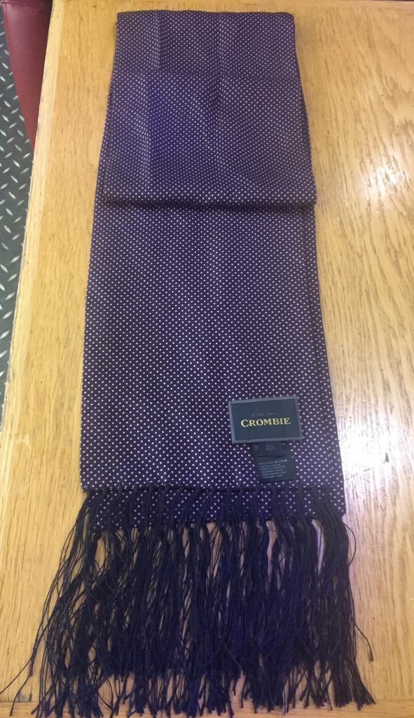 Crombie Silk Purple Polka Dot Scarf