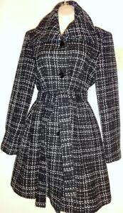 10 CALVIN KLEIN SPRING COAT / Womens M / Black White Plaid / Long Jacket / Nearly New / Sexy and cute