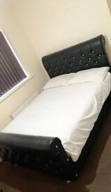 Double Diamanté sleigh bed with mattress