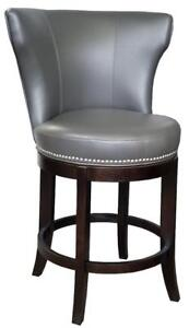 Grey Swivel Leather Counter Stool w/Brushed Nailhead