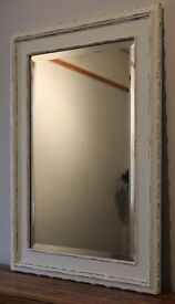 Vintage Shabby Chic White/Gold Scallop Edged Wall Mirror