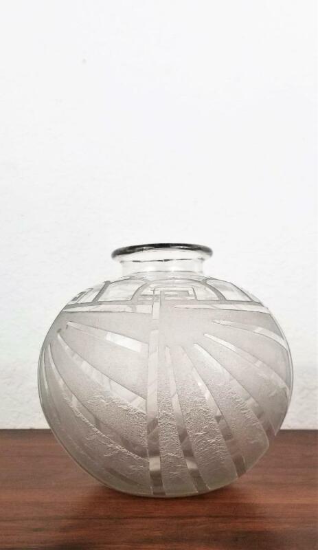 Charles Schneider Art Deco Etched Frosted Glass Vase France Modernism