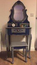 Unique upcycled French style dressing table set in chalk blue and anthracite finish