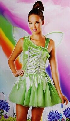 Womens Green Enchanted FAIRY Tinkerbell Halloween Costume S M 4 6 8 10 Purim NEW