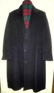 46R XL Mens Cashmere Wool Winter Coat Long Stocky Made in Canada McGregor Black Wide Waist Vintage Retro Free Scarf incl