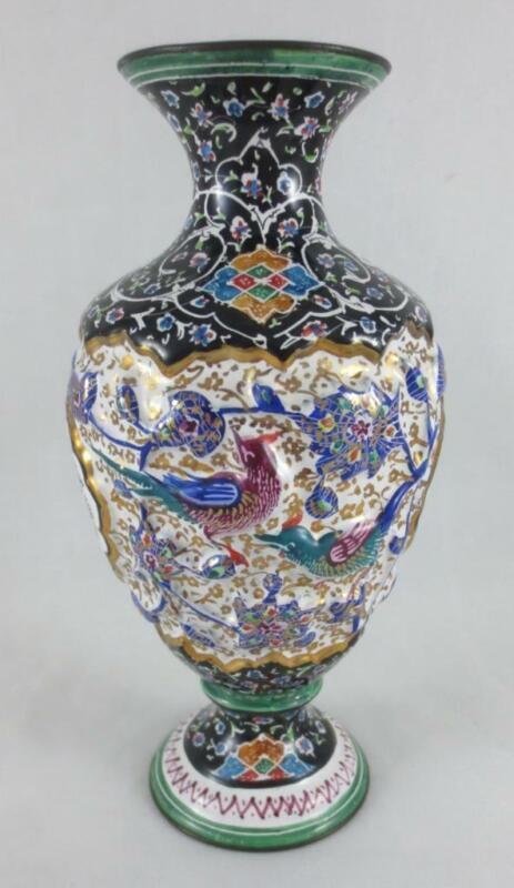 """PERSIAN MINAKARI Hand Painted Enamel on Metal 6.5"""" VASE URN Birds & Flowers"""